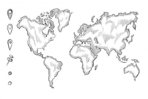 Mão desenhada, esboço mapa do mundo áspero com doodle pinos