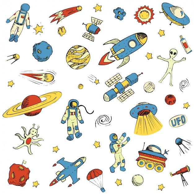 Mão desenhada espaço objetos astronauta, nave espacial, alienígena, satélite, foguete, universo, astronauta.
