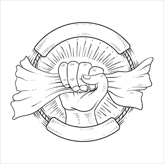 Mão desenhada espírito da independência linha arte preto e branco