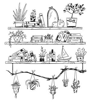 Mão desenhada estantes com livros, plantas de casa e pequenas lembranças. um lugar aconchegante
