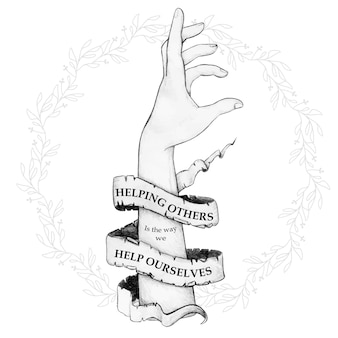 Mão desenhada estendendo a mão com citação de texto de pergaminho vintage