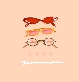 Mão desenhada estética contemporânea, ilustração de moda com lindos óculos de sol femininos modernos vintage e texto escrito à mão love summer