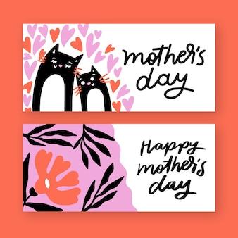 Mão desenhada estilo banners de dia das mães