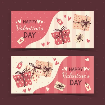 Mão desenhada estilo banners de dia dos namorados