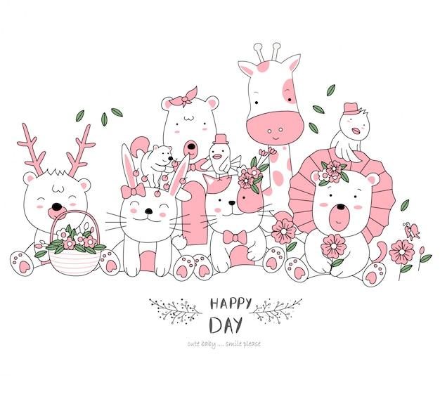 Mão desenhada estilo branco bonito animal dos desenhos animados