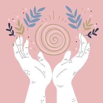 Mão desenhada estilo energia cura mãos