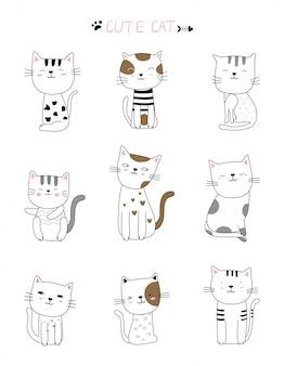 Mão desenhada estilo gato bonito branco animal dos desenhos animados