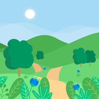 Mão desenhada estilo primavera paisagem