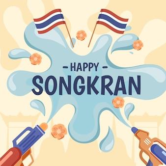 Mão desenhada estilo songkran