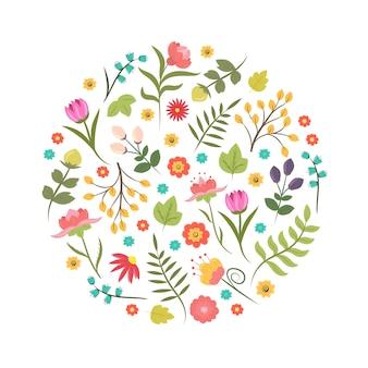Mão desenhada estilo verão ou primavera elemento de design floral ou logotipo em forma de círculo. identidade comercial