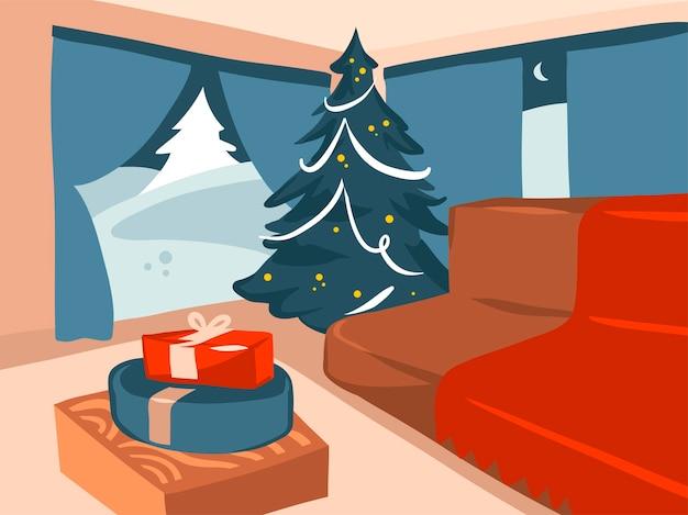Mão desenhada estoque abstrato feliz natal