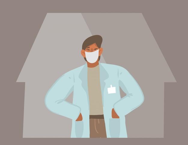 Mão desenhada estoque ilustração gráfica abstrata com médico homem bem protegido em uma máscara facial no hospital na cor de fundo