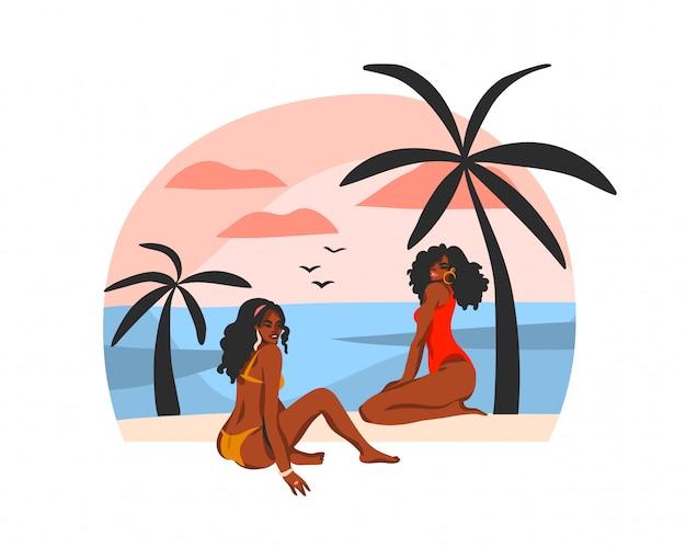 Mão desenhada estoque ilustração gráfica plana abstrata com jovens felizes mulheres negras beleza afro americana, em traje de banho na cena do pôr do sol praia isolada no fundo branco