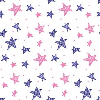 Mão desenhada estrelas fundo sem emenda