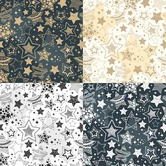 Mão desenhada estrelas padrões sem emenda. fundo do céu