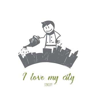 Mão desenhada eu amo meu esboço de conceito de cidade