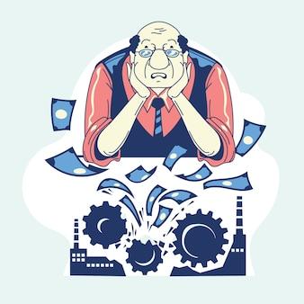 Mão desenhada falência com homem e dinheiro perdido