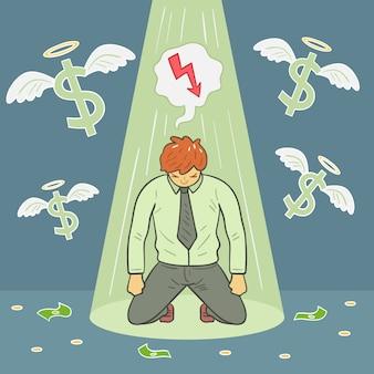 Mão desenhada falência e homem a perder dinheiro