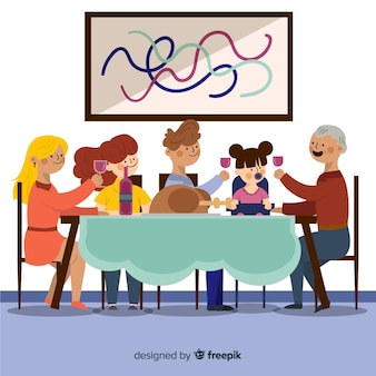 Mão desenhada família comendo juntos