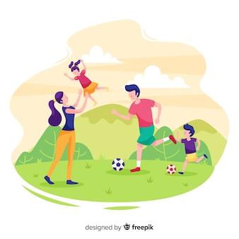 Mão desenhada família fazendo atividades ao ar livre