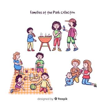Mão desenhada família na coleção parque