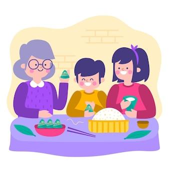 Mão desenhada família preparando e comendo zongzi