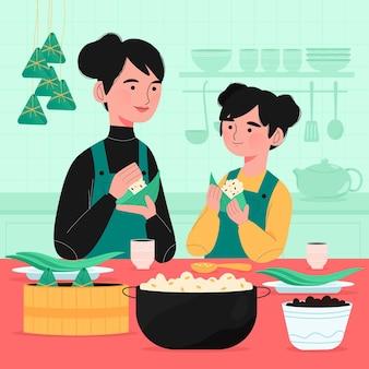 Mão desenhada família preparando zongzi