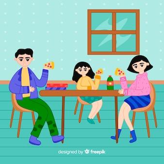 Mão desenhada família sentado em torno de ilustração de mesa