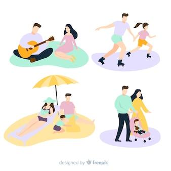 Mão desenhada família situações ao ar livre
