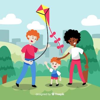 Mão desenhada família voando uma ilustração de kite