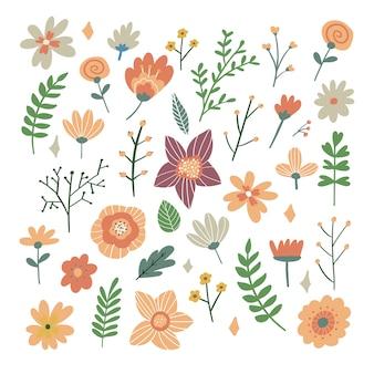 Mão desenhada fantasia flores folclóricas. ilustração botânica em estilo cartoon plana