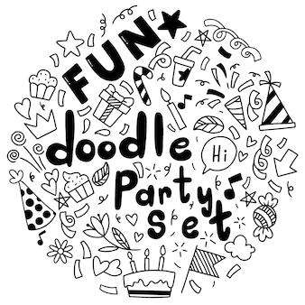 Mão desenhada feliz aniversário ornamentos doodle festa ilustração vetorial