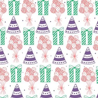 Mão desenhada feliz aniversário padrão de fundo
