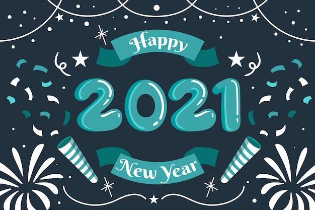 Mão desenhada feliz ano novo 2021, fogos de artifício e confetes