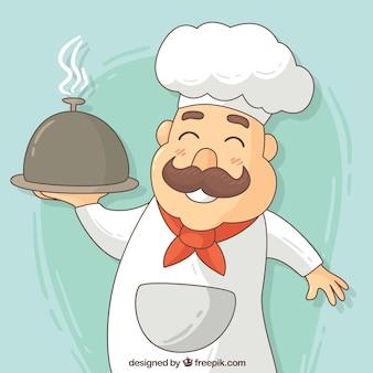 Mão desenhada feliz cozinheiro fundo