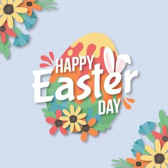Mão desenhada feliz dia da páscoa ovo floral colorido