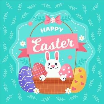 Mão desenhada feliz dia de páscoa com cesta e coelho