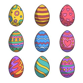 Mão desenhada feliz dia de páscoa ovos coloridos
