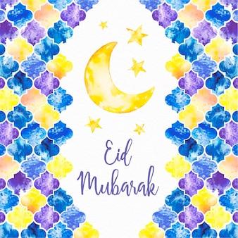 Mão desenhada feliz eid mubarak lua e estrelas