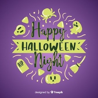 Mão desenhada feliz halloween letras de fundo