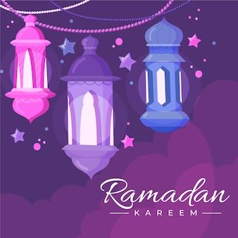 Mão desenhada feliz ramadan kareem velas e estrelas