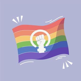 Mão desenhada feminista lgbt + bandeira