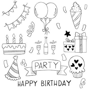 Mão desenhada festa doodle feliz aniversário ornamentos padrão de fundo