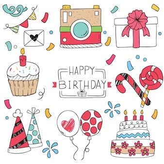Mão desenhada festa doodle feliz aniversário ornamentos padrão ilustração