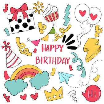 Mão desenhada festa doodle feliz aniversário ornamentos.