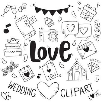 Mão desenhada festa doodles elemento de fundo de elemento de casamento elemento