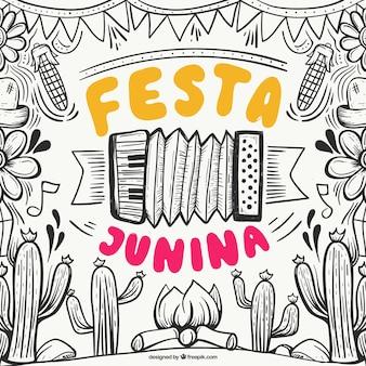 Mão desenhada festa junina fundo com elementos