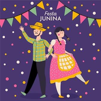 Mão desenhada festa junina ilustração com homem e mulher