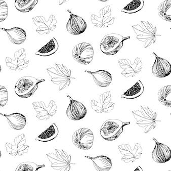 Mão desenhada figo frutas e folhas padrão sem emenda