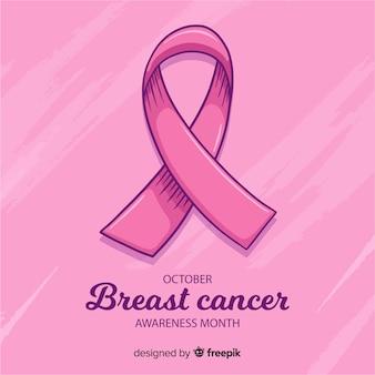 Mão desenhada fita rosa para símbolo de conscientização de câncer de mama